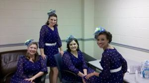 Epic, a Harmony Inc., female barbershop quartet, Fairfax Jubil-Aires, dressing room