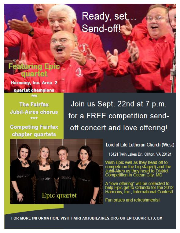 Epic quartet, Fairfax Jubil-Aires, barbershop, quartet, chorus, competition, send-off